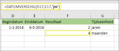 "= DATUM verschil (D17, E17, ""JM"") en resultaat: 4"