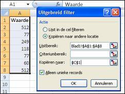 Het geavanceerde filter toepassen op een bereik van gegevens