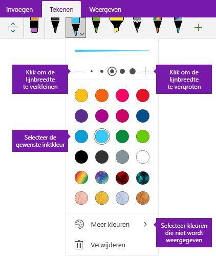Inkt breedte en kleur Lijnopties in OneNote voor Windows 10