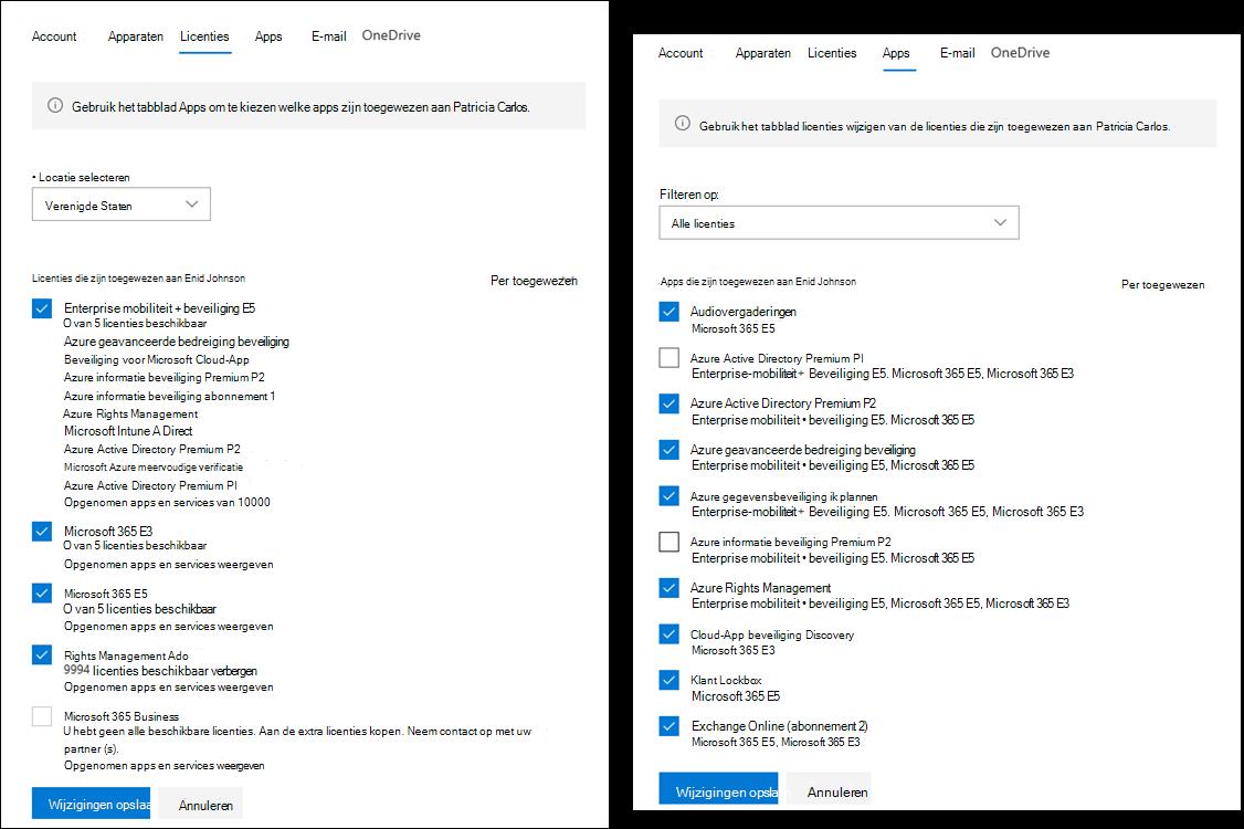 Scherm opname met de weer gegeven dat de tabbladen gebruikers details en licentie verlening nu verschillende functies voor beheerders hebben.