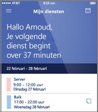 Voorbeeld van een dagplanning in de mobiele app van StaffHub