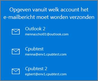 Kies een account van waaruit u een e-mailbericht wilt verzenden
