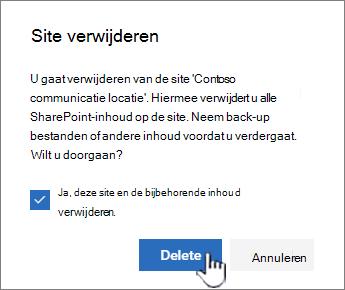 Als u zeker weet dat u de site wilt verwijderen, klikt u op verwijderen.