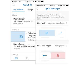 Postvak IN met de actie Markeren als gelezen links en het dialoogvenster Swipe-opties aan de linkerkant