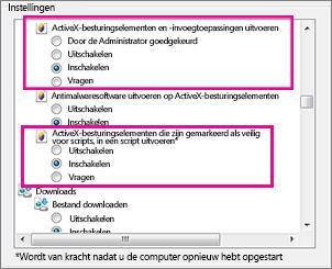 Laden en uitvoeren van ActiveX-besturingselementen in Internet Explorer toestaan