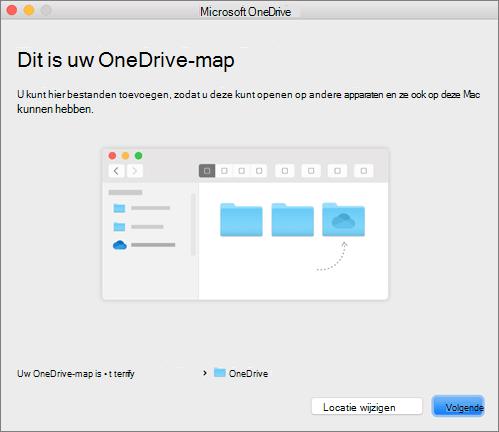 Schermafbeelding van de pagina Dit is uw OneDrive-map in de wizard Welkom bij OneDrive op een Mac