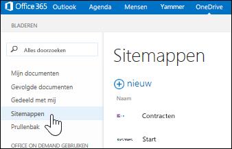 Sitemappen selecteren om te zoeken naar door u gevolgde sites die documentbibliotheken bevatten
