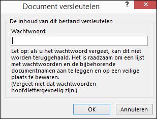 Dialoogvenster Document versleutelen