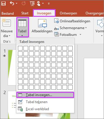 Hiermee wordt de optie Tabel op het tabblad Invoegen op het lint in PowerPoint weergegeven