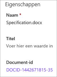 Document-ID die wordt weergegeven in het detailvenster