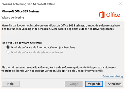 Toont de wizard Activering voor Office 365 Business