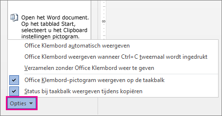 De Klembord-opties in Word 2013