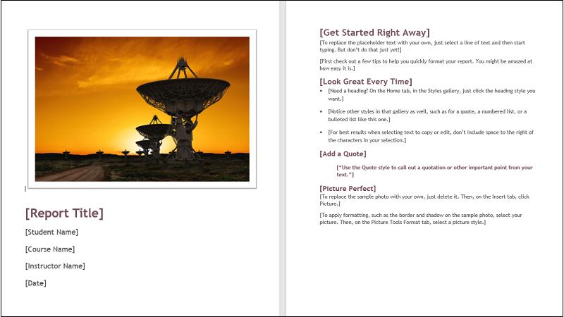 Afbeelding van een omslag van een sjabloon voor leerlingen/studentenpapier