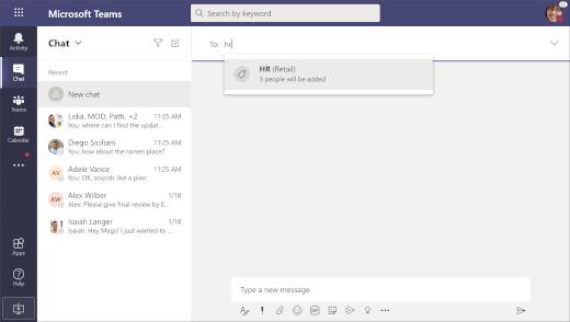 Selecteer een tag in een chatgesprek