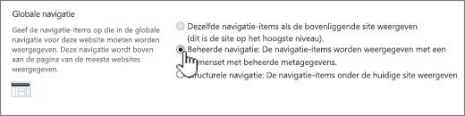 Globale navigatie-instellingen met beheerde navigatie geselecteerd