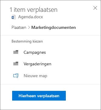 Schermafbeelding van het verplaatsen van een bestand vanuit OneDrive voor bedrijven naar een SharePoint-site