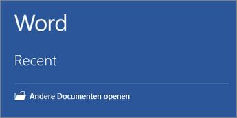 Er wordt een lijst met meest recent gebruikte documenten weergegeven.