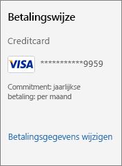 Schermafbeelding van de koppeling Betalingsgegevens wijzigen.