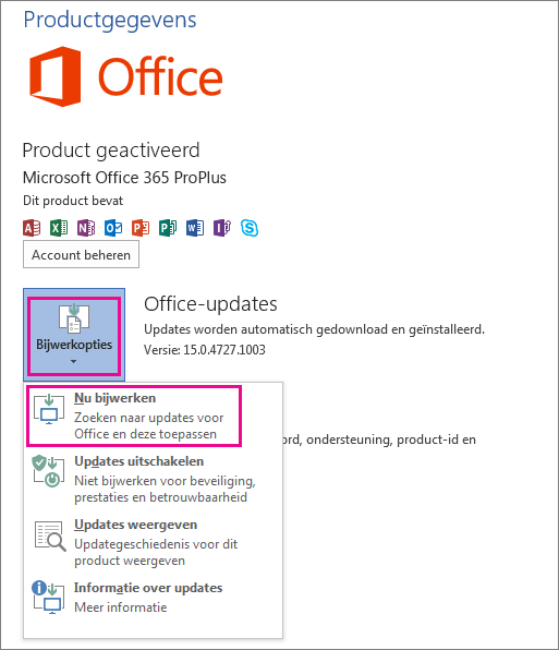 Handmatig controleren op Office-updates in Word 2013