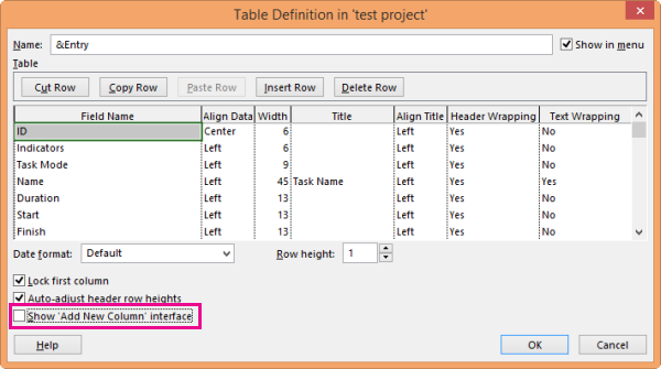 Table Definition dialog box