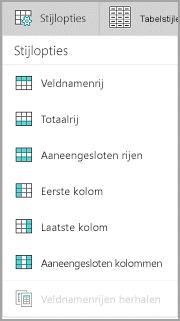 Opties voor tabelstijlen in Windows Mobile