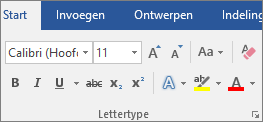 Kies in Word op het tabblad Start in de groep Lettertype een lettertype en een tekengrootte.