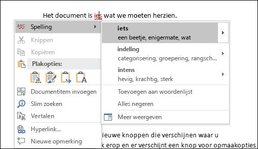 Editor gebruikt intelligente services om spelling- en contextcorrecties aan te bevelen.