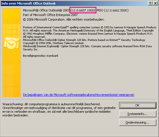 Schermafbeelding met het versienummer van Outlook 2007 in het dialoogvenster Info over Microsoft Office Outlook.