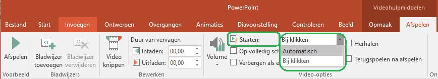 Video's die vanaf uw computer zijn ingevoegd, kunt automatisch laten beginnen of pas wanneer u erop klikt.