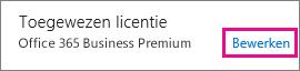 Schermafbeelding van het gedeelte Toegewezen licentie van het deelvenster Gebruikersgegevens waarin de koppeling Bewerken is gemarkeerd.