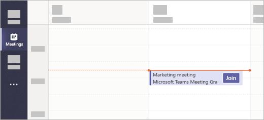 Een vergadering met een knop deelnemen in de app vergaderingen in teams