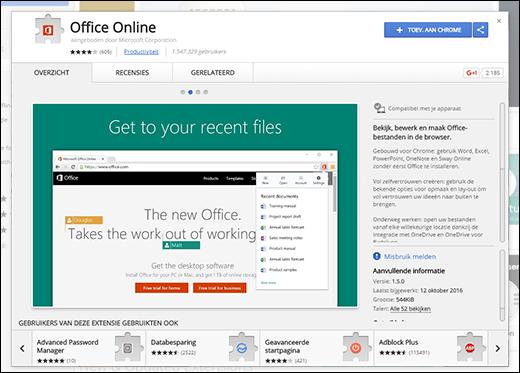De Office Online-extensie toevoegen vanuit de Chrome Web Store