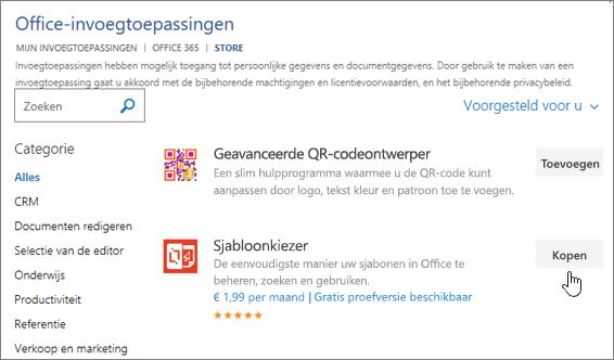 Schermafbeelding van de pagina Office-invoegtoepassingen kunt u Selecteer of zoek naar een invoegtoepassing voor Word.