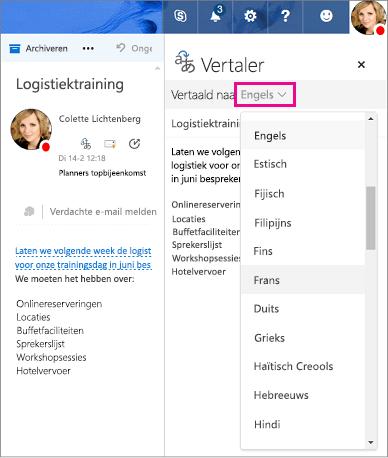 Selecteer de taal waarin u het bericht wilt vertalen in Outlook.com en de webversie van Outlook
