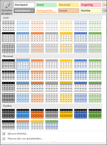 Stijlengalerie voor Excel-tabel
