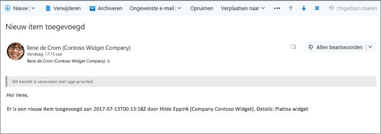 E-mail verzonden door Microsoft Flow wanneer een item gewijzigd