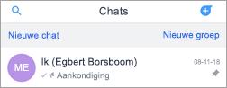 Scherm afbeelding van ik-chat in Kaizala
