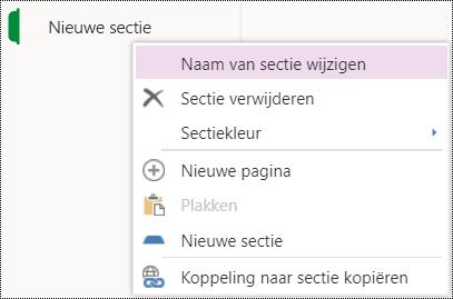 Optie Naam van sectie wijzigen in OneNote Online.