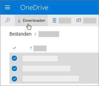 Schermafbeelding van het selecteren en downloaden van OneDrive-bestanden.