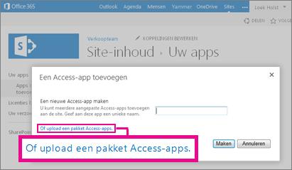 Het pakket van een Access-app uploaden naar de pagina Een app toevoegen op een SharePoint-site