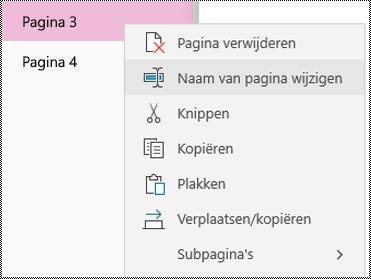 De naam van pagina's wijzigen in OneNote-app voor Windows 10
