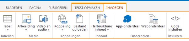 Schermafbeelding van het tabblad Invoegen, met knoppen voor het invoegen van tabellen, video's, afbeeldingen en koppelingen naar sitepagina's