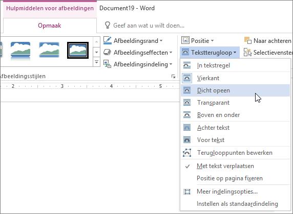 Items in het menu Tekstterugloop