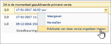Vervolgkeuzelijst met gepubliceerde bestanden met de optie Publicatie van deze versie ongedaan maken gemarkeerd