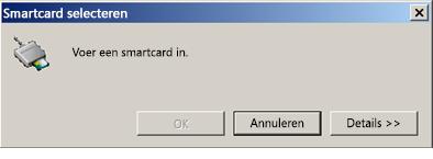 Vraag om smartcard te plaatsen