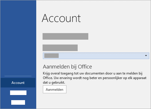 Meld u aan met uw Microsoft-Account of Office 365 werk of schoolaccount.