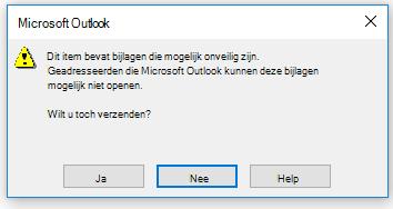 Waarschuwing in Outlook over het verzenden van mogelijk onveilige bijlagen
