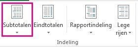 Knop Subtotalen op het tabblad Ontwerpen