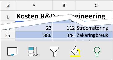 Werkblad met beschikbare contextuele opdrachten onder aan het scherm