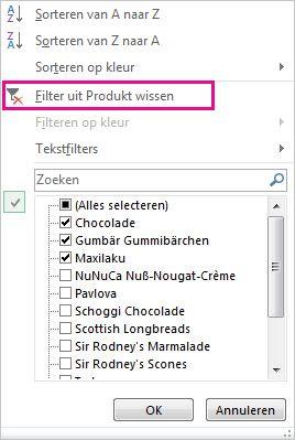 Filtergalerie met de opdracht Filter wissen